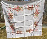 Vintage Mid Century Colorful Floral Print Tablecloth With Flowers 50 x 50""