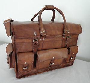 """16"""" Vintage Leather Briefcase Messenger Bag Laptop Shoulder Travel Pilot Handbag"""