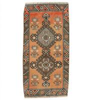2x4 Oriental Hand Knotted Vintage Geometric Traditional Turkish Wool Area Rug