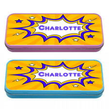 Personalised Pencil Case Comic Style Pop Art Pink or Blue Metal Tin Box