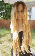 Human hair blend Ombre Dark Roots To Blonde 613 and 27 Lace Front wig