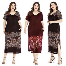 Plus Size Women Boho Dress Print V-Neck Short Sleeve Casual Beach Party Sundress
