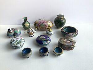 Vintage Chinese Cloisonne Vase Ashtray Trinket Jewelry Dog Box Tea Pot Mix Lot