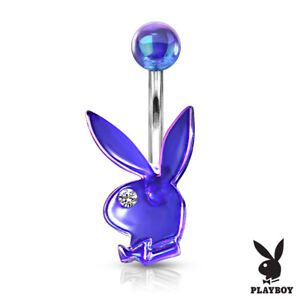 Aurora Borealis Acrylic Playboy Bunny Belly Ring w/ Gem Eye Naval Piercing Navel