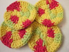 4 Crochet Face Scrubbies. 100 % Cotton FREE P&P (pce)