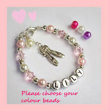 GIRLS PERSONALISED BEADED BALLET SHOES CHARM BRACELET GIFT SWEETHEART DESIGNS