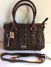 FOSSIL MADDOX SIGNATURE SILHOUETTE TWILL & LEATHER CROSSBODY TOTE ZB5354015 NEW