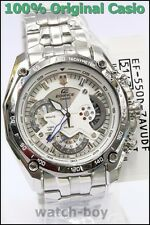 EF-550D-7A White Casio Men's Watches Edifice Steel Band Chronograph Tachymeter