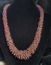 Vintage Woven Multi Strand Beaded Purple Collar Necklace by Moulin Rouge *WOW*