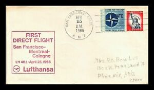LUFTHANSA FIRST DIRECT FLIGHT SAN FRANCISCO - MONTREAL-COLOGNE  USA COVER 1966