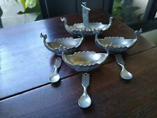 Vintage Norway Viking Ship Salt Cellars with Spoons 3 and Master with Sail