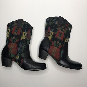 """Spring Step L'Artiste Boots 40 9 Leather Textile Multicolored 2"""" heel"""