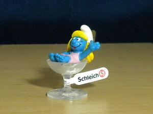 Smurfs 20753 Party Smurfette Wine Glass Smurf Figure PVC Toy Vintage Figurine
