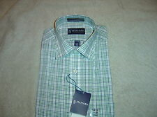 Stafford Essentials Fitted Broadcloth Dress Shirt Green Plaid 15  34/35 NWT