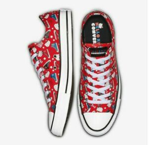 NIB Converse x Hello Kitty Chuck Taylor Low Sneakers Red M 6.5 7 8    W 8.5 9 10