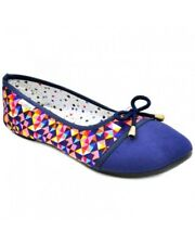 Andrea Women's Ballet Flat Shoes Casual Doll Shoes (BLUE multicolor) SIZE 35