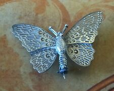 VINTAGE SILVER BUTTERFLY BROOCH FILIGREE SILVER JEWELLERY STAMPED