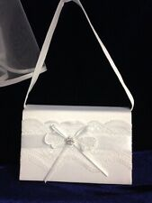 White Lace Bow Satin Bag  Ideal Holy Communion, Bridesmaid/Flower Girl BN