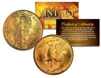 Lot of 2 MERCURY Silver Dimes US Coins 24K GOLD PLATED Winged Liberty w/Capsules