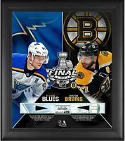"""Bruins vs Blues Framed 15"""" x 17"""" 2019 Stanley Cup Collage & Pieces of GU Puck"""