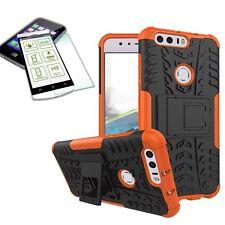 Hybrid Funda exterior 2 Piezas Naranja para Huawei Honor 8 + CRISTAL cubierta