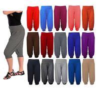 Ladies 3/4 Harem Baggy Shorts Women Plain Ali Baba Trousers Pants