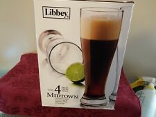 Libbey 16oz Midtown Pilsner Glass Clear 4pc Beer Glasse, New