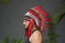 Red Hat Native American Headdress, Indian Headdress, Feather Costume, Hat Party