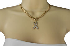New Women Gold Metal Chains Short Fashion Necklace Breast Cancer Jewelry Pendant