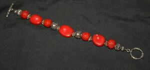 SILPADA - B0985 - Red Coral, Cinnabar & Silver Bead Bracelet RARE