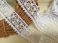 "Pretty 1.25""/3.5cm White Guipure Satin Finish Lace Trim.Crafts/Bridal/Sewing"