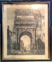 Antique Framed Lithograph Veduta dell' Arco di Tito - Roma 1819 - Luigi Rossini