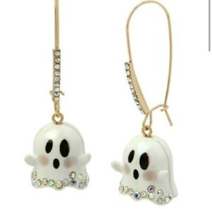 Betsey Johnson Halloween Dangling Ghost GLOW IN THE DARK Earrings W/ Rhinestones
