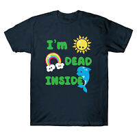 I'm Dead Inside Cheerful Dolphins and Sunshine Funny Men's T-Shirt Cotton Tee