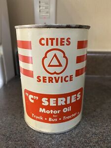 """Cities service """"C"""" Series Motor Oil Can Full Quart oil gas station"""