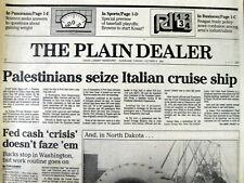 1985 headline newspaper PALESTINIAN TERRORISTS HIJACK OCEAN LINER Achille Lauro