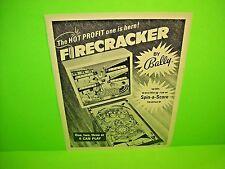 Bally FIRECRACKER 1970 Original Flipper Game Pinball Machine Promo Sales Flyer