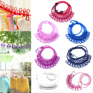 180cm Elastic Washing Clothes Line With 12 Pegs Clip Camping Caravan Travel Boat