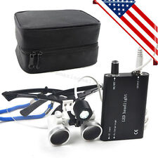 USA Dental Loupes 2.5x 420mm Surgical Medical Binocular LED Head Light Lamp Case