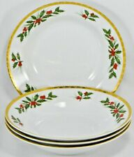 GORHAM SOUP BOWLS FESTIVE HOLLY SET of 4 - Striking Gold Accents !