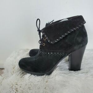 NWOB Enzo Angiolini Black Whipatitch Suede Booties Shoes 8.5