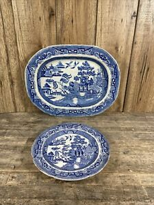 Antique 19th Century Staffordshire Blue & White Old Willow Meat Platter & Plate.