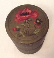 Original Art Nouveau hand-painted card cylindrical box w drinking glass