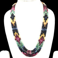 5 Strands Natural Emerald Ruby Sapphire Necklace Finest Quality Faceted Beads