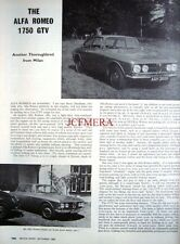 1969 Alfa Romeo '1750 GTV' Motoring Magazine Car Report (2-Sided Cutting)