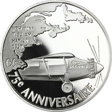 """France 1,5 Euro 2002 Silver Proof Coin """"First Atlantic flight"""" Charles Lindbergh"""