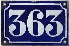 Old blue French house number 363 door gate plate plaque enamel metal sign c1900
