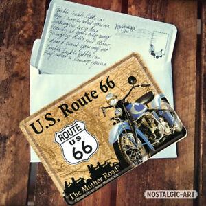 16323 Postal metálica 10x14 route 66 motorrad nostalgic art coolvintage