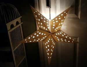 Hanging white star light shade with LEDs 5 point Christmas/everyday-60cm NEW