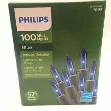 Philips 100 Mini Light Blue Christmas Indoor Outdoor Green Wire Energy Star New